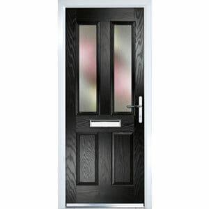 Crystal Frosted Glazed Black Composite LH External Front Door set (H)2055mm (W)920mm