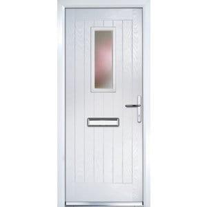 Crystal Frosted Glazed Cottage White Composite LH External Front Door set (H)2055mm (W)920mm