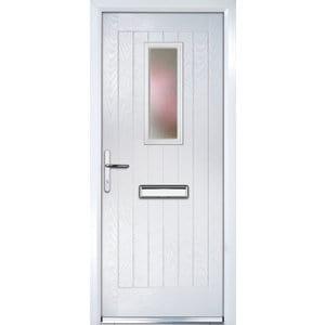 Crystal Frosted Glazed Cottage White Composite RH External Front Door set (H)2055mm (W)920mm