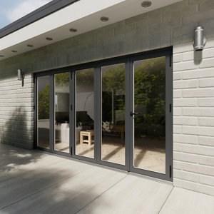 Crystal Glazed Grey Aluminium LH External Bi-fold Door set (H)2104mm (W)3604mm