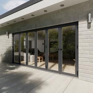 Crystal Glazed Grey Aluminium LH External Bi-fold Door set (H)2104mm (W)4204mm