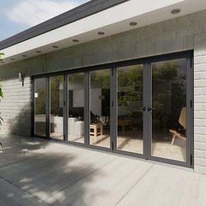 Crystal Glazed Grey Aluminium LH External Bi-fold Door set (H)2104mm (W)4804mm