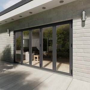 Crystal Glazed Grey Aluminium RH External Bi-fold Door set (H)2104mm (W)3604mm