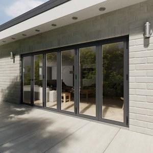 Crystal Glazed Grey Aluminium RH External Bi-fold Door set (H)2104mm (W)4204mm