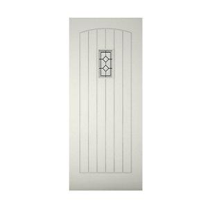 Diamond bevel Glazed Cottage Primed White LH & RH External Front Door (H)1981mm (W)762mm