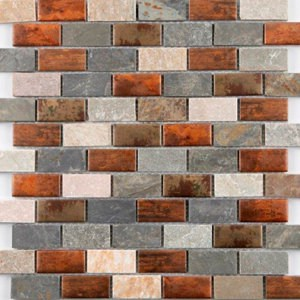 Dylan Grey & copper effect Brick Glass & stone Mosaic tile (L)295mm (W)297mm