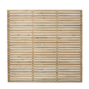 Forest 6 x 6ft Contemporary Single Slatted Fence Panel - Pack of 5