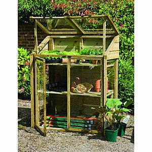 Forest Garden 2 x 4ft Small Wooden Lean-To Greenhouse