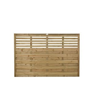 Forest Garden Contemporary Slatted Pressure treated Fence panel (W)1.8m (H)1.2m Pack of 5