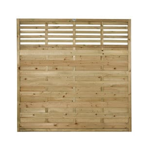 Forest Garden Contemporary Slatted Pressure treated Fence panel (W)1.8m (H)1.8m Pack of 10