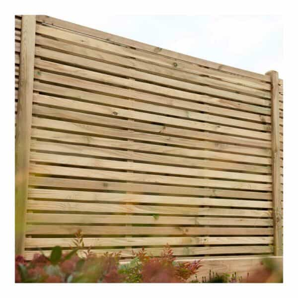 Forest Garden Pressure Treated Contemporary Double Slatted Fence Panel 1.8m x 1.8m Mixed Softwood