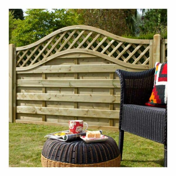 Forest Garden Pressure Treated Decorative Europa Prague Fence Panel 1.8m x 1.2m Mixed Softwood
