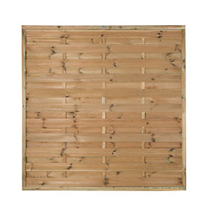 Forest Garden Pressure Treated Horizontal Hit & Miss Fence Panel - 6 x 6ft Pack of 4