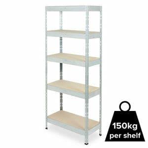 Form Exa 5 shelf Medium-density fibreboard (MDF) & steel Shelving unit (H)1800mm (W)750mm