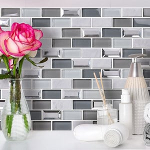 Gatsby Blue & grey Marble effect Brick Glass & stone Mosaic tile (L)300mm (W)300mm