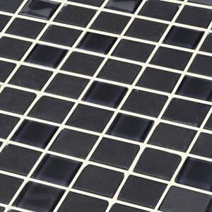Genovia Black & grey Glass effect Mosaic Glass Mosaic tile (L)295mm (W)295mm