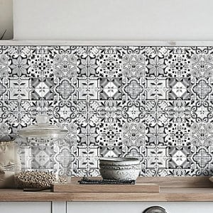 Geo Black & white Moroccan Glass Mosaic tile sheets (L)320mm (W)320mm
