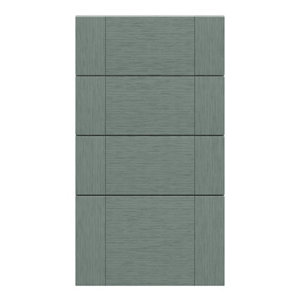 GoodHome Alpinia Matt Green Painted Wood Effect Shaker Drawer front (W)400mm Pack of 4