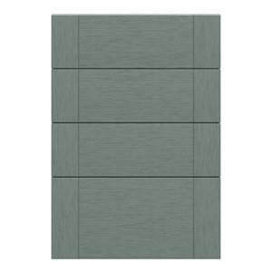 GoodHome Alpinia Matt Green Painted Wood Effect Shaker Drawer front (W)500mm Pack of 4
