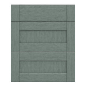 GoodHome Alpinia Matt Green Painted Wood Effect Shaker Drawer front (W)600mm Pack of 3