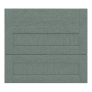 GoodHome Alpinia Matt Green Painted Wood Effect Shaker Drawer front (W)800mm Pack of 3