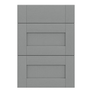 GoodHome Alpinia Matt Slate Grey Painted Wood Effect Shaker Drawer front (W)500mm Pack of 3