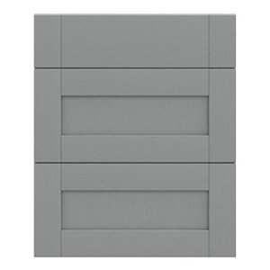 GoodHome Alpinia Matt Slate Grey Painted Wood Effect Shaker Drawer front (W)600mm Pack of 3
