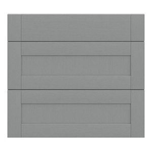 GoodHome Alpinia Matt Slate Grey Painted Wood Effect Shaker Drawer front (W)800mm Pack of 3