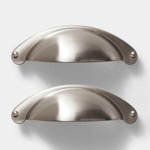 GoodHome Ancho Brushed Silver Nickel effect Stainless steel & zinc alloy Cabinet Handle (L)103mm Pack of 2