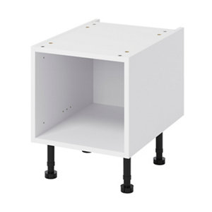 GoodHome Caraway White Half height Base cabinet (W)400mm