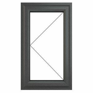 GoodHome Clear Double glazed Grey uPVC LH Window (H)1115mm (W)610mm