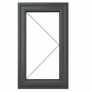 GoodHome Clear Double glazed Grey uPVC RH Window (H)1190mm (W)610mm