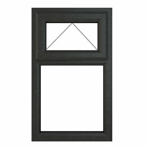 GoodHome Clear Double glazed Grey uPVC Top hung Window (H)1040mm (W)610mm