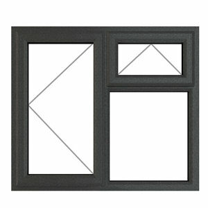 GoodHome Clear Double glazed Grey uPVC Top hung Window (H)965mm (W)1190mm