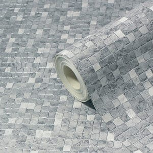 GoodHome Dunni Grey Mosaic Tile effect Textured Wallpaper
