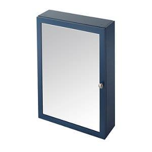 GoodHome Perma Satin Blue Mirrored door Bathroom Cabinet (W)500mm (H)700mm