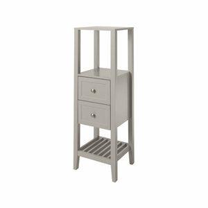 GoodHome Perma Satin Grey Tall Freestanding Bathroom Cabinet (W)402mm (H)1200mm