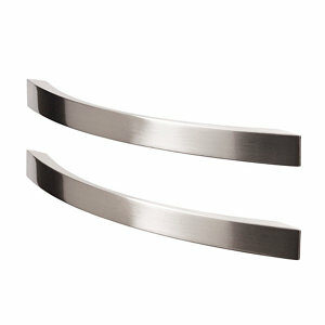 GoodHome Sabaku Brushed Nickel effect Aluminium Bow Cabinet Handle (L)260mm Pack of 2