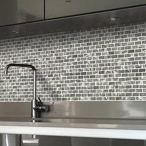 Grey Natural stone Mosaic tile sheets (L)305mm (W)305mm