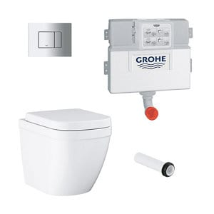 Grohe Even & Euro Contemporary Back to wall Rimless Standard Toilet & cistern with Soft close seat