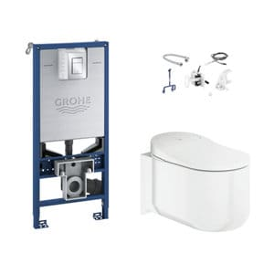 Grohe Sensia arena Modern Wall hung Rimless Standard Toilet & cistern with Soft close seat