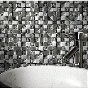 Hammerfest White Glass Mosaic tile sheets (L)300mm (W)300mm