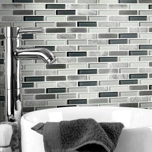 Helsinki Blue & grey Glass & stone Mosaic tile sheets (L)306mm (W)324mm