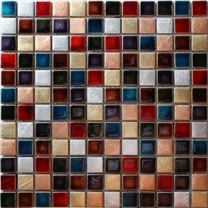 Ibiza Multicolour Glass Mosaic tile (L)300mm (W)300mm