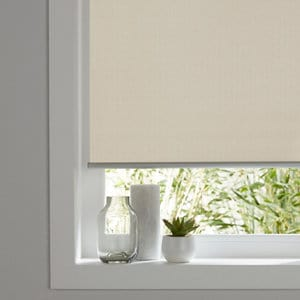Ilas Corded Cream Plain Blackout Roller Blind (W)120cm (L)180cm