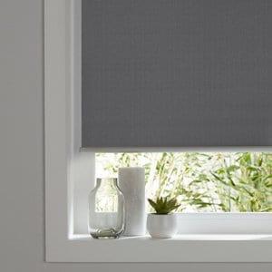 Ilas Corded Grey Plain Blackout Roller Blind (W)90cm (L)180cm