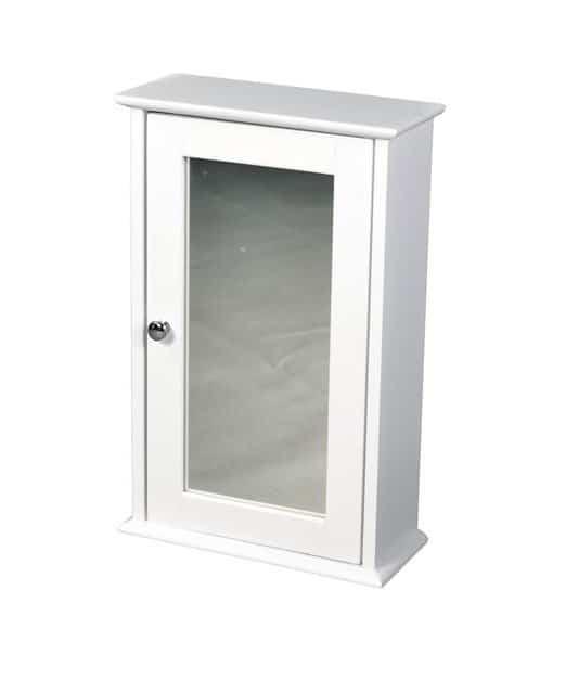 LPD Limited Alaska 1 Door White Mirrored Wall Cabinet MDF