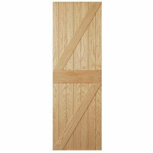 Ledged & braced Oak veneer LH & RH External Front Door (H)1981mm (W)838mm