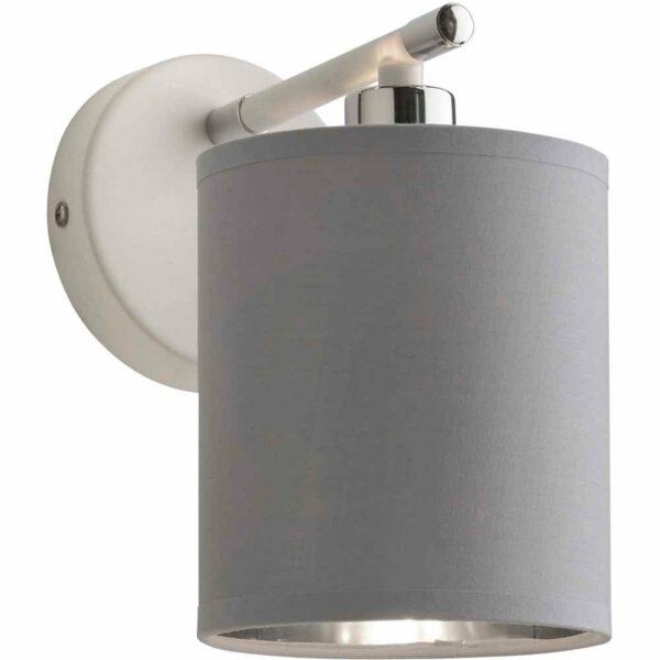 Lighting & Interiors Naomi White and Chrome Wall Light Fitting Metal, Polycotton
