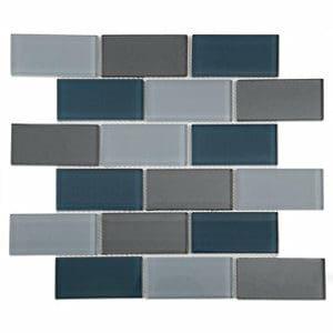 Lofthouse Petrol grey Glass Mosaic tile (L)300mm (W)300mm